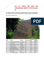 100 Mejores Colegios Según Puntajes Promedios