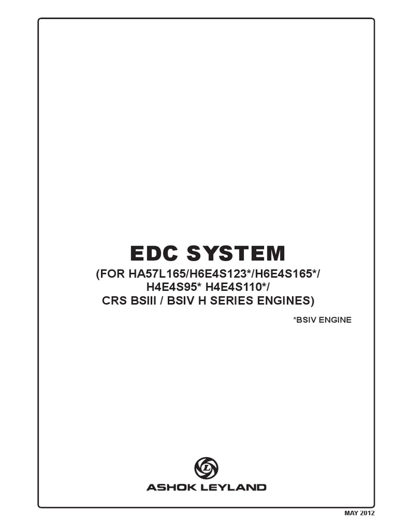 Edc System For Bs Iii Iv Fuel Injection Electrical Connector Wiring Tools List Pdf
