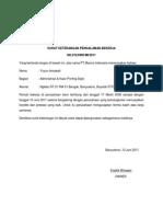 Surat Keterangan Pengalaman Bekerja