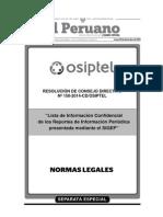 291214 Lista de Información Confidencial de los Reportes de Información - Osiptel