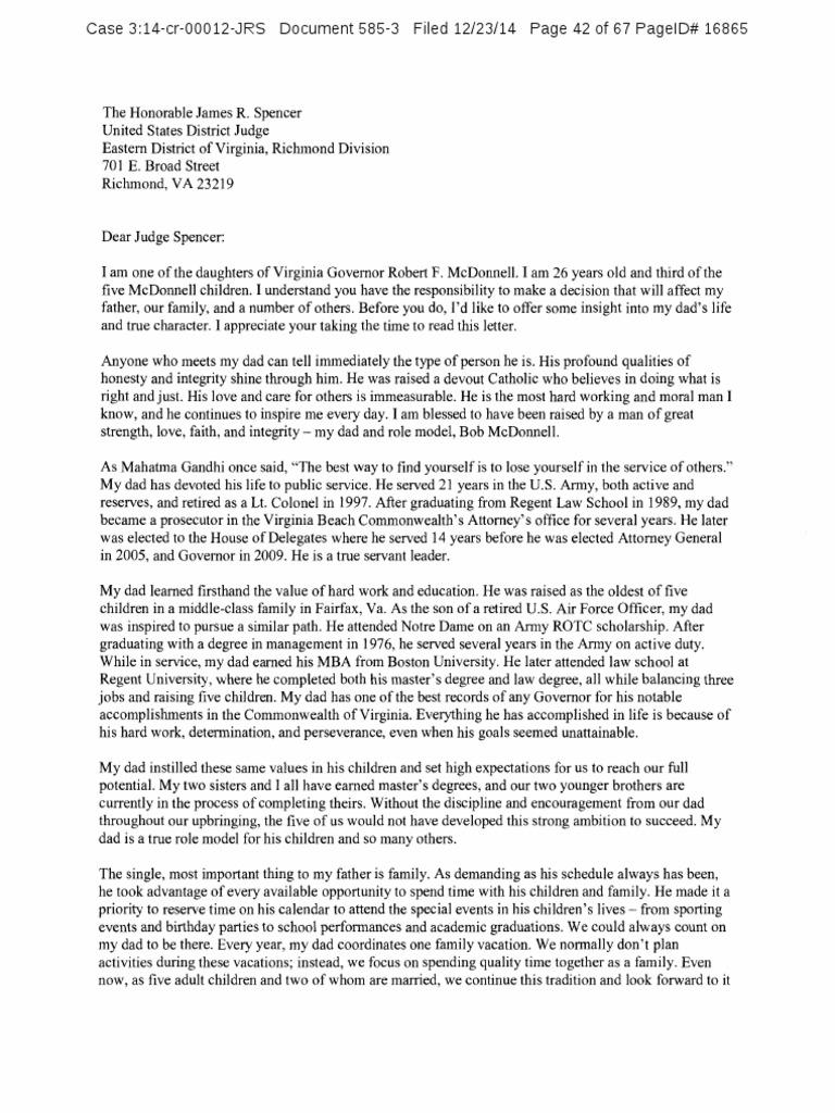 Rachel Mcdonnell Letter   Virginia   Integrity