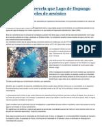 Investigación Revela Que Lago de Ilopango Tiene Altos Niveles de Arsénico