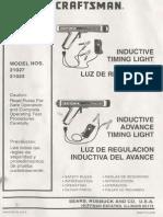 Craftsman Inductive Timing Light Models 21027 21023 Owners Manual PISTOLA de TIEMPOS