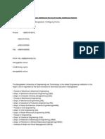 Bangladesh Additional Service Provider Additional Details