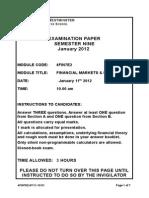Financial Market & Institutions Exam