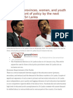 Putting the Provinces, Women, And Youth at the Forefront of Policy by the Next President in Sri Lanka