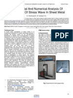Experimental and Numerical Analysis of Propagation of Stress Wave in Sheet Metal