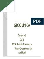 TEMA Análisis Gravimétrico- Factor Gravimétrico Kps, Solubilidad