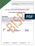 Microsoft  Error Handling in DynamError Handling in Dynamics CRM Onlineics CRM Online