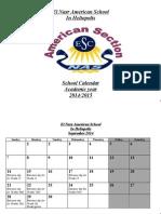 American School Calendar 2014 - 2015