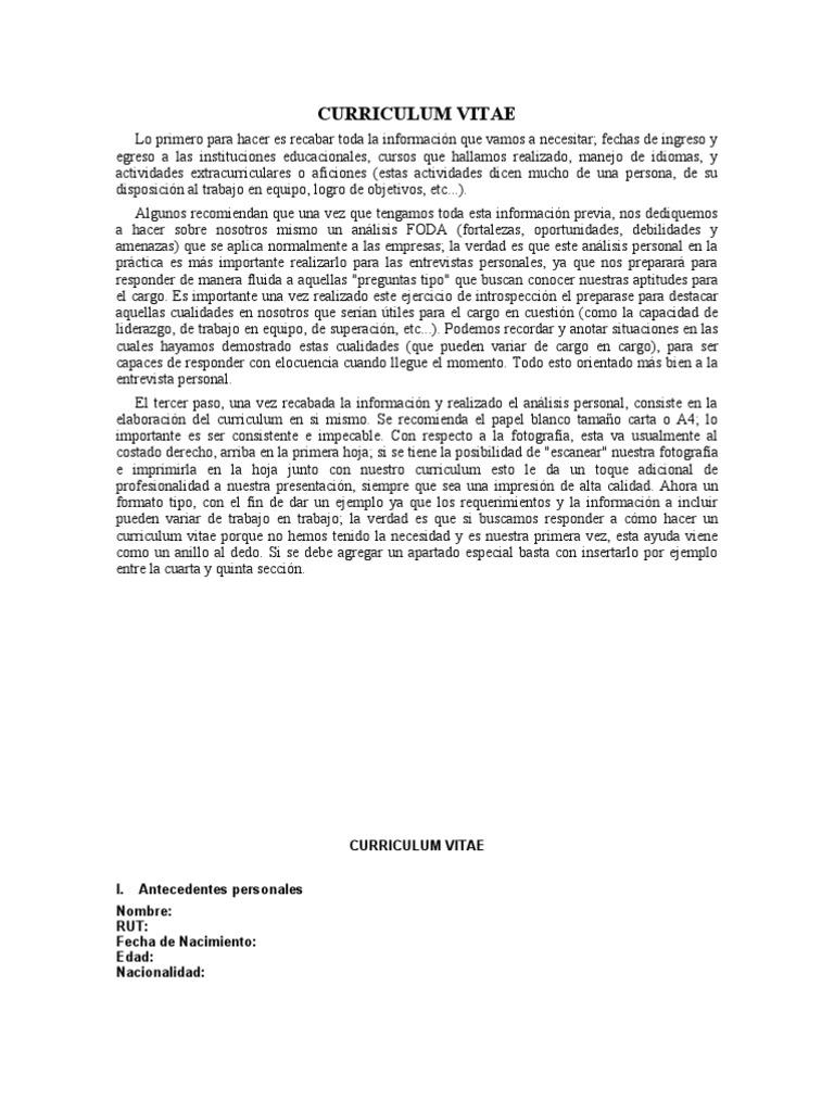 Curriculum Vitae cargado por Italia_Italia__8096