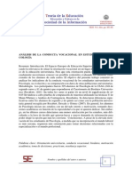 Articulo OANÁLISIS DE LA CONDUCTA VOCACIONAL EN ESTUDIANTES DE PSI-COLOGÍA