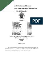 Sejarah Pemikiran Ekonomi Thomas Robert Malthus Dan David Ricardo