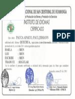 certificado Quechua