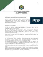 Discours de Vœux 2014 du Président de la République, Ali BONGO ONDIMBA