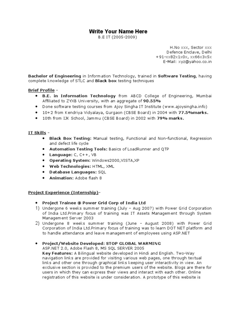 sample resume software engineer fresher. Resume Example. Resume CV Cover Letter