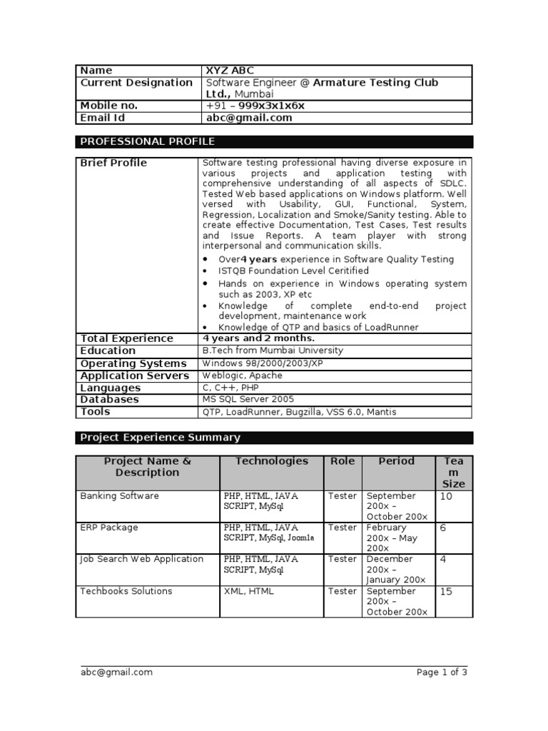 Experienced Testing Resume Template | Php | Web Application