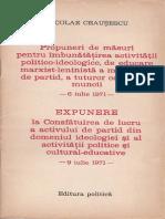 Nicolae Ceausescu-Propuneri de masuri..., Expunere la consfatuirea... Iulie 1971
