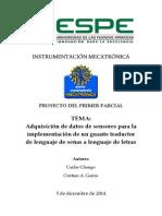Adquisición de datos de sensores para la implementación de un guante traductor de lenguaje de señas a lenguaje de letras