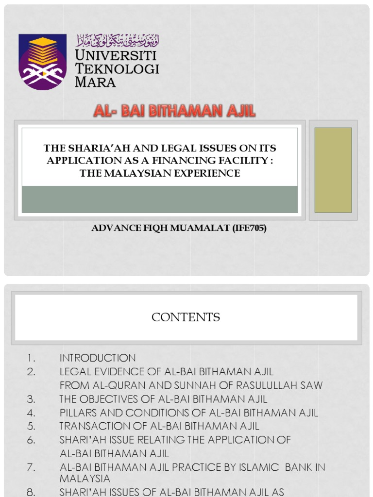 Al Bai Bithaman Ajil The Shari Ah And Legal Issues On Its Application As A Financing Facility The Malaysian Experience Islamic Banking And Finance Prices