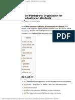 List of International Organization for Standardization Standards - Wikipedia, The Free Encyclopedia