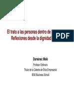 Calidad Humana y Empresa Domenec Mele en San Telmo Transparencias