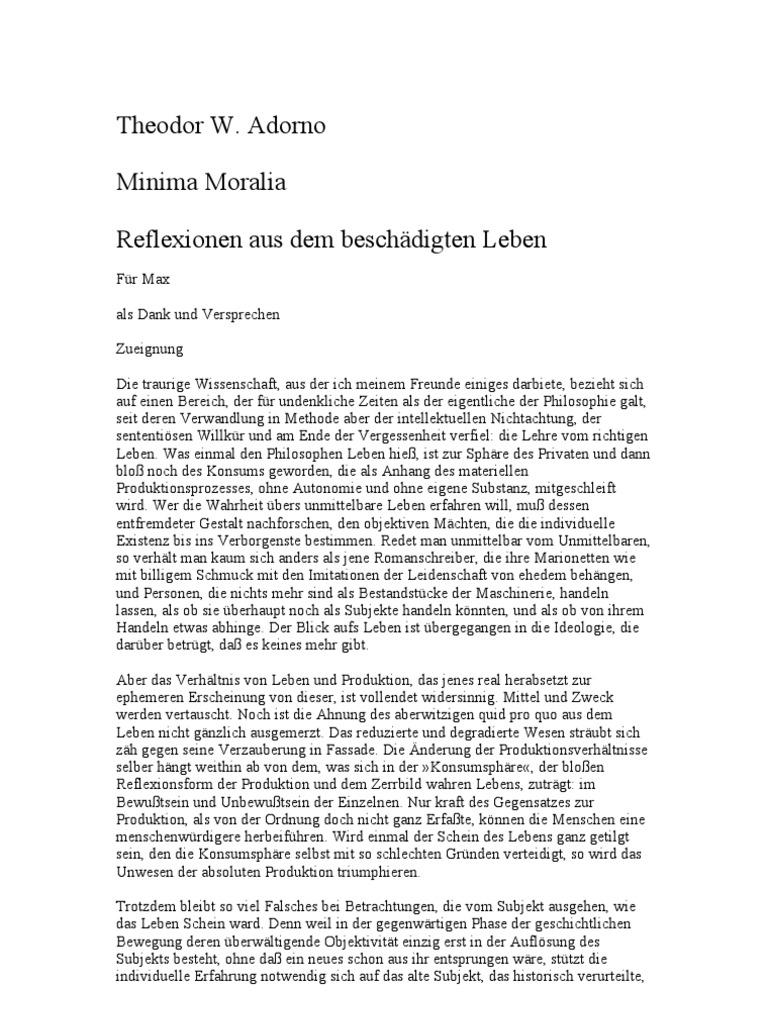 Minima Moralia, Theodor W. Adorno
