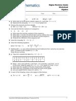 Revision Guide Higher Algebra Worksheet