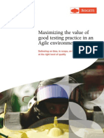 Maximizing the Value of Good Testing Practice in an Agile Environment
