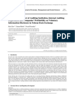 Examining the Effect of Auditing Institution, Internal Auditing Department and Companies? Profitability on Voluntary Information Disclosure in Tehran Stock Exchange