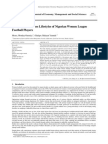 Health and Wellness Lifestyles of Nigerian Women League Football Players
