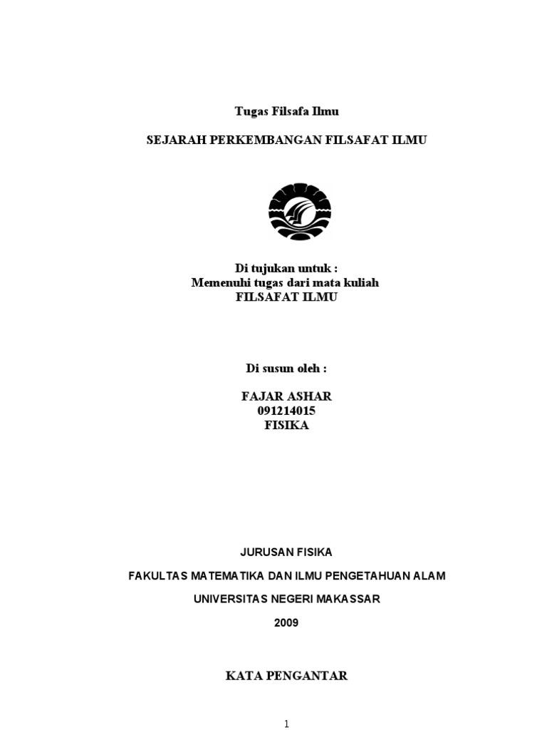 Sejarah Perkembangan Filsafat Ilmu