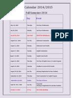 Updated University Calendar 2014-2015 - Dec 24.2014
