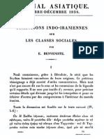 Traditions Indo-iraniennes Sur Les Classes Sociales (Benveniste1938)