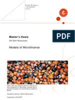 Models of Micro Finance With Selected Appedieces
