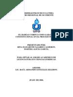 El Habeas Corpus Como Garantia Constitucional en El Proceso Penal