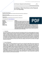 The Relationship between Balance Sheet Data Errors in the Financial Reporting and Aggressive Tax Reporting