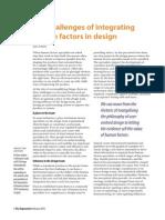 The challenges of integrating human factors in design