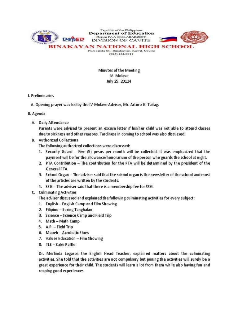 Sample Pta Meeting Agenda In School