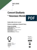 """Programme Concert Etudiants """"Nouveaux Mondes"""""""