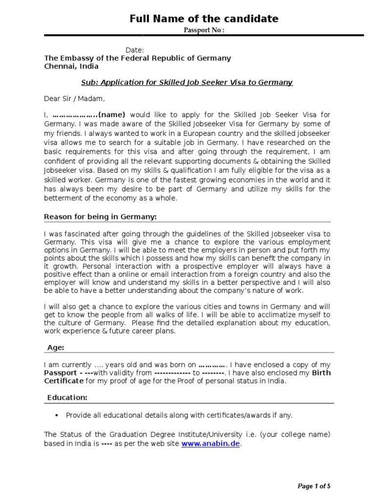 Sample Cover Letter Travel Visa Resume