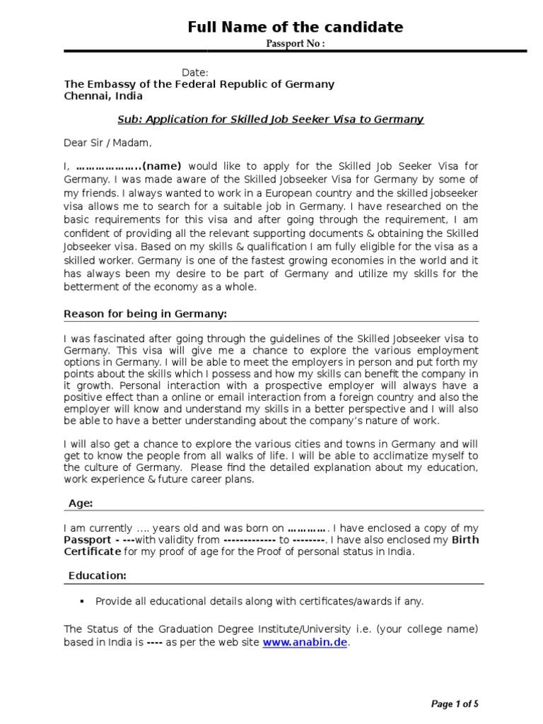 sample cover letter travel visa rsum
