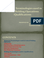 terminologies used in welding
