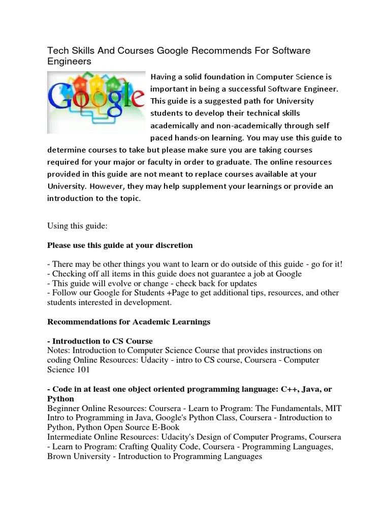 Computer engineering skills recommended by google | Computer