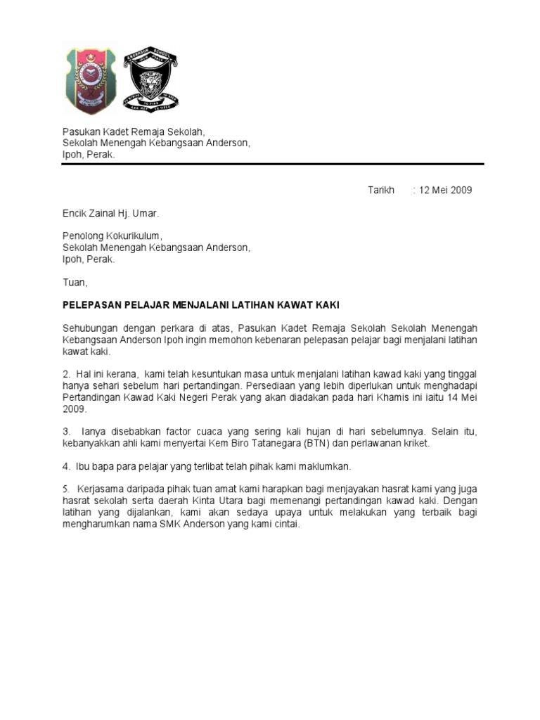surat rasmi permohonan keluar asrama rasmi ru