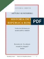 Historia de La República Romana. Arturo Rosenberg 1926