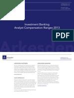 Analyst Compensation Ranges 2013