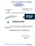 COMUNICADO ALTERAÇÕES N.º 44 FUTEBOL 11_ALTERAÇÃO DE JOGOS MARCADOS ENTRE 7 e 9 NOVEMBRO 2014