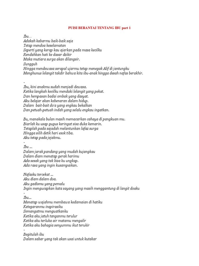 Puisi Berantai Tentang Ibu Part 1 Docx