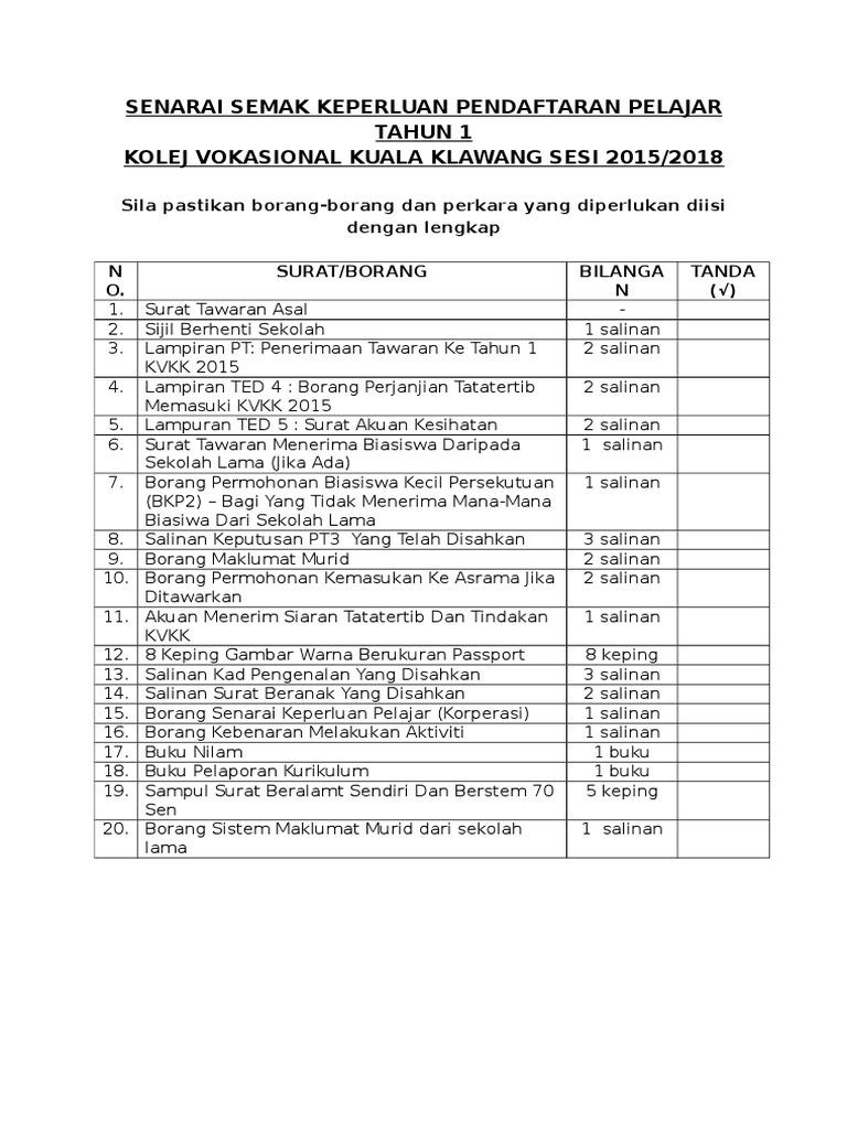 Senarai Semak Keperluan Pendaftaran Pelajar Tahun 1